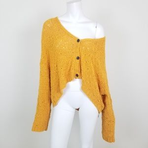 NWT AE Mustard Yellow Cropped Cardigan Sweater XL